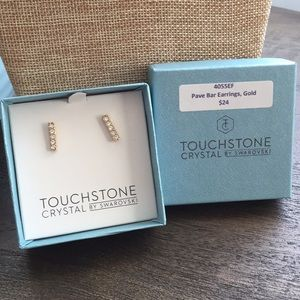 Touchstone Swarovski crystal pave bar earring